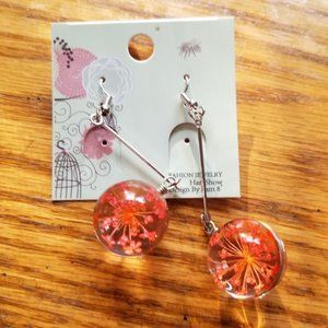 REAL DRIED FLOWERS IN GLASS EARRINGS